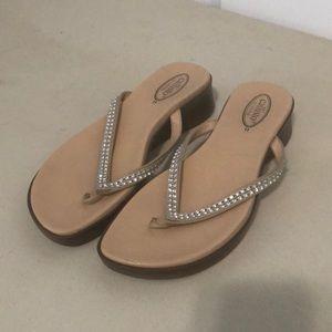 Callisto jeweled thong with wedge heel